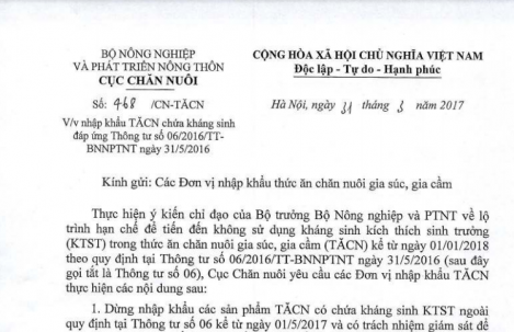 Dừng nhập khẩu tất cả các sản phẩm TĂCN chứa kháng sinh KTST từ 1/10/2017